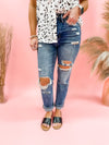Cynthia Super High Rise Distressed Straight Jeans