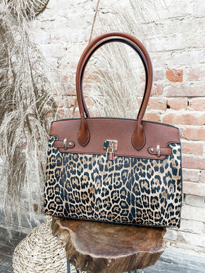 Russo Leopard Structured Tote- Brown