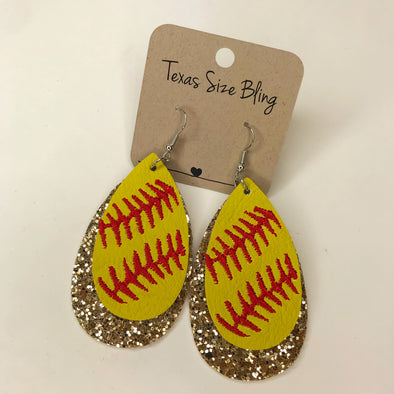 Gold Glitter Softball Earrings