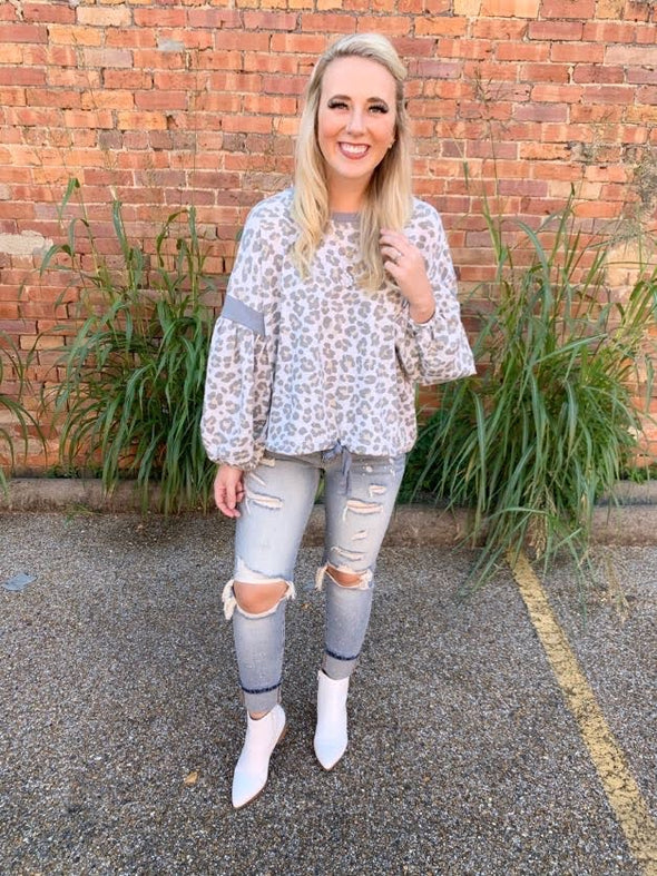 Kylee Leopard Balloon Sleeve Sweatshirt- Grey