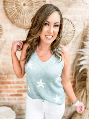 Layla Sleeveless Sweater Tank Top- Aqua/Ivory