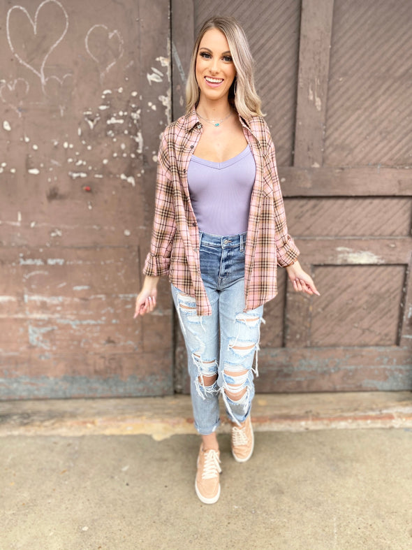 Teagan Oversized Boyfriends Button Down Plaid Top- Pink