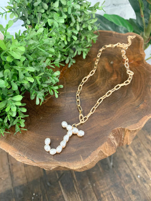 Pearl Initial Letter Necklace- J