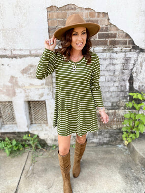 Esther Striped Long Sleeve Casual Dress- Green/White
