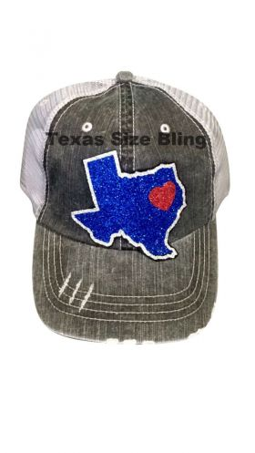 Glitter Texas with Heart Trucker Hat - Texas Bling