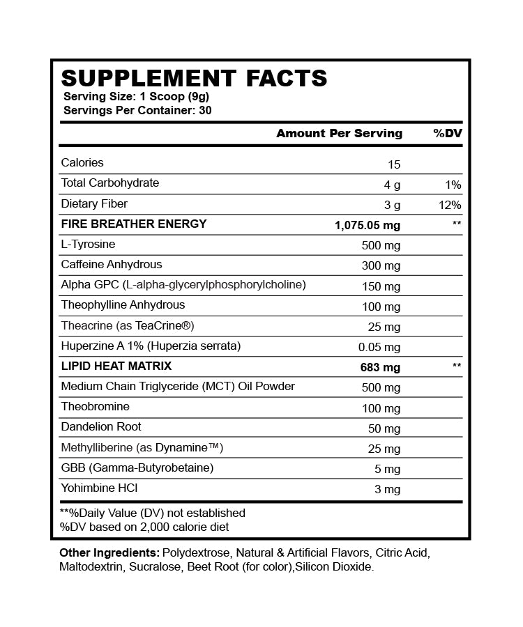 Legacy Fire Thermogenic Pre-Workout, Supplement Facts