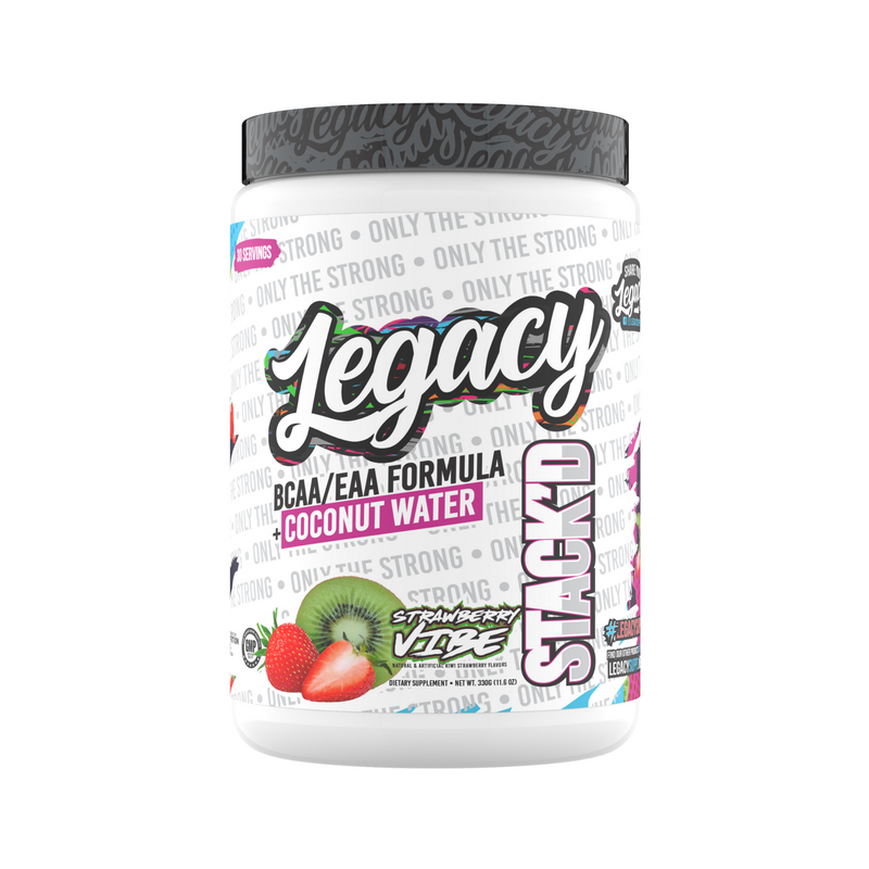Legacy Stackd EAAs/BCAAs + Coconut Water Hydration Formula, Strawberry Vibe