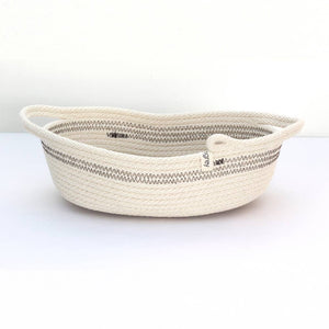 Woven Grey Oval Basket With Handles - The Give Store