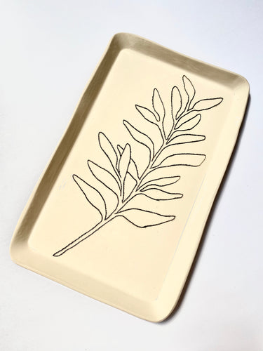 Tray with Sage Leaf Design - The Give Store