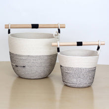 Woven Grey Basket With Wooden Handle - The Give Store