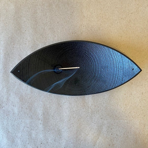 Cast Iron Bamboo Leaf Boat Incense Holder - The Give Store