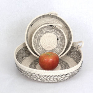 Woven Grey Color Block Basket - The Give Store