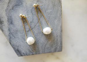 Wendy Faye Baroque Pearl Chain Earrings - The Give Store