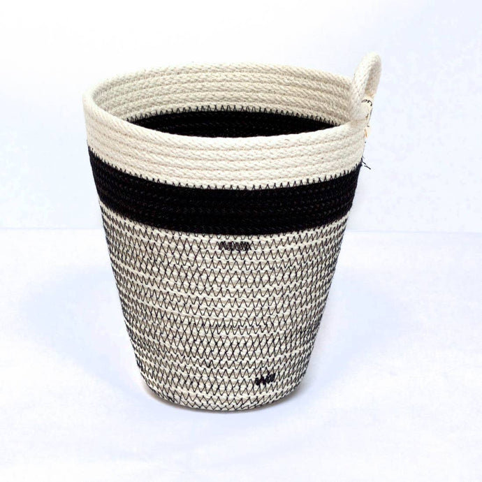 Woven Grey Black and White Striped Vessel - The Give Store