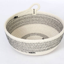 Woven Grey One Handle Small Striped Bowl - The Give Store
