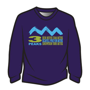 Dark Purple 3 Peaks Design 2 Long Sleeve T-Shirt