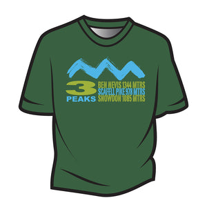 Dark Green 3 Peaks Design 2 T-Shirt