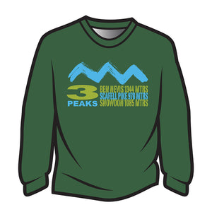 Dark Green 3 Peaks Design 2 Long Sleeve T-Shirt