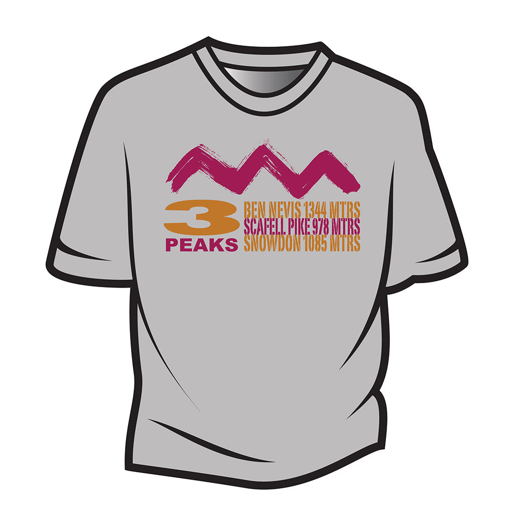 Light Grey 3 Peaks Design 2 T-Shirt