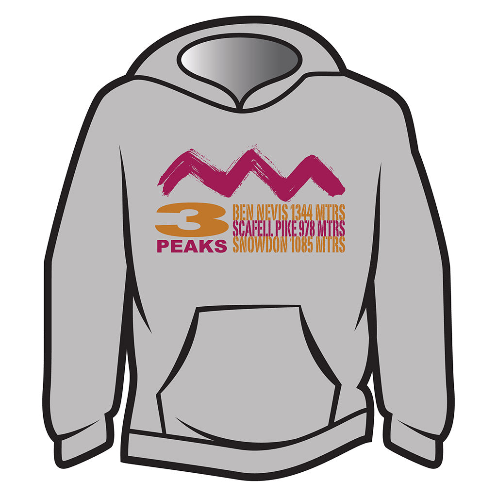 Light Grey 3 Peaks Design 2 Hoodie