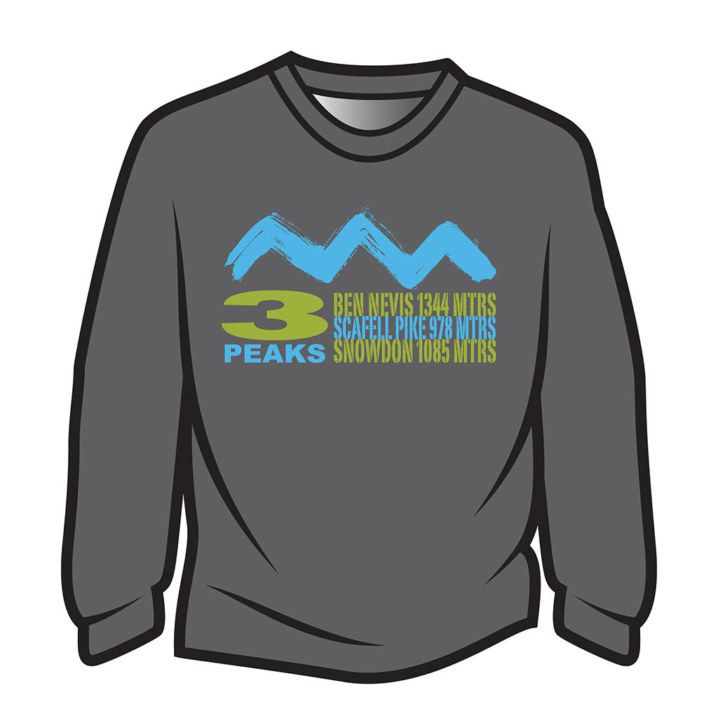 Dark Grey 3 Peaks Design 2 Long Sleeve T-Shirt