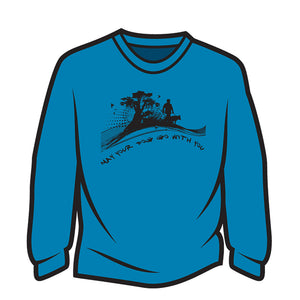 Blue May your dog go with you (him) Long Sleeve T-Shirt