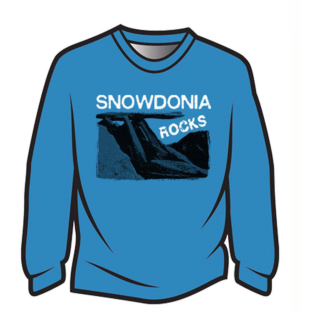 Blue Snowdonia Rocks Long Sleeve T-Shirt
