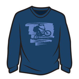 Dark Blue Bike Jump Long Sleeve T-Shirt
