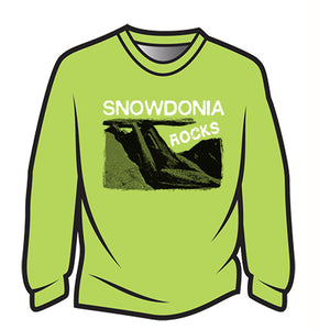 Green Snowdonia Rocks Long Sleeve T-Shirt