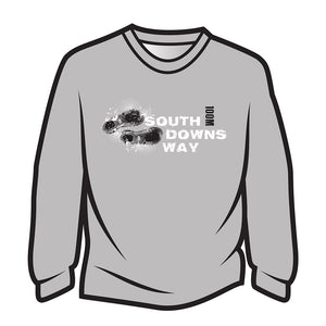 Light Grey South Downs Way Design 1 Long Sleeve T-Shirt
