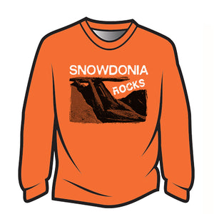 Orange Snowdonia Rocks Long Sleeve T-Shirt