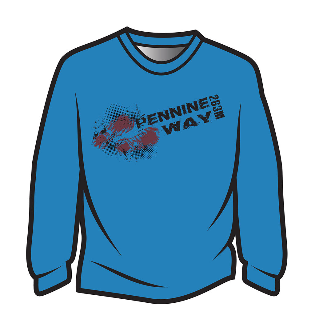 Blue Pennine Way Design 1 Long Sleeve T-Shirt