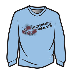 Light Blue Pennine Way Design 1 Long Sleeve T-Shirt