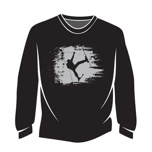 Black Skier Design 1 Long Sleeve T-Shirt