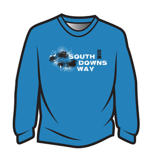 Blue South Downs Way Design 1 Long Sleeve T-Shirt