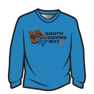 Blue South Downs Way Design 2 Long Sleeve T-Shirt