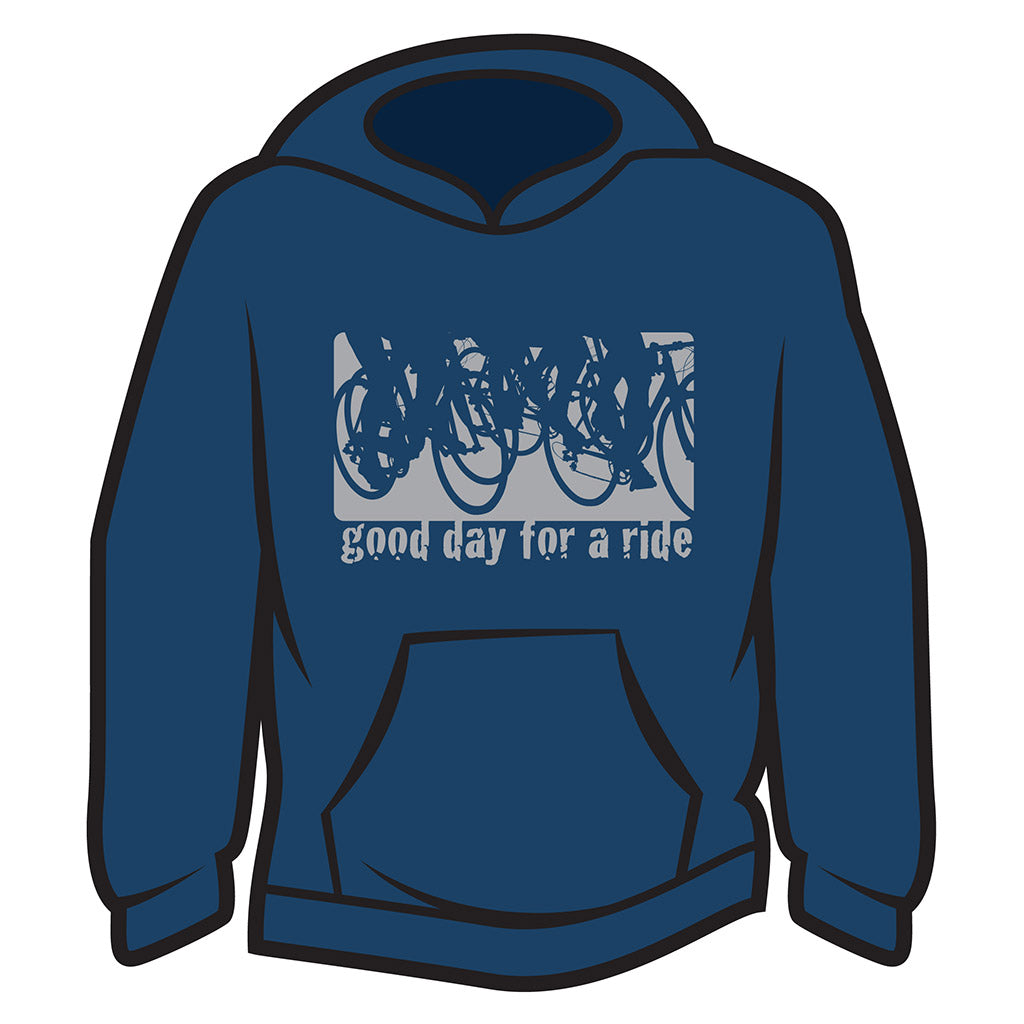 Dark Blue Good day for a ride Hoodie