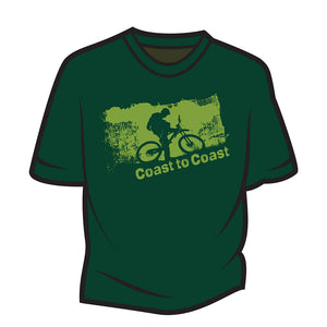 Dark Green Coast to Coast Biker T-Shirt