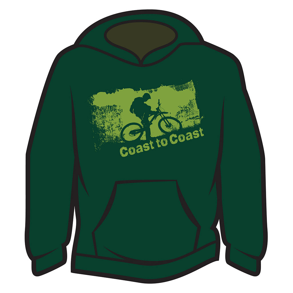 Dark Green Coast to Coast Biker Hoodie