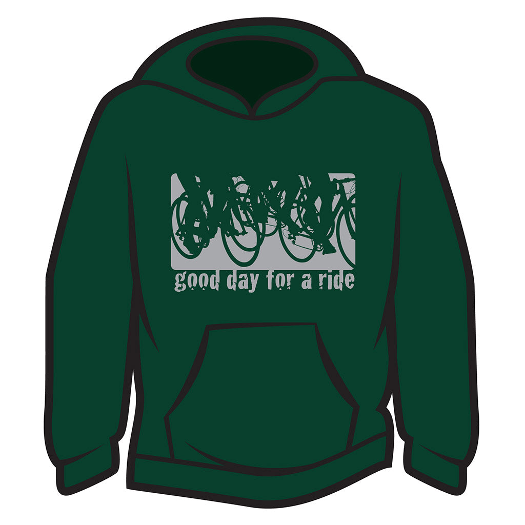 Dark Green Good day for a ride Hoodie