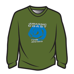 Green Jurassic Coast Design 1 Long Sleeve T-Shirt