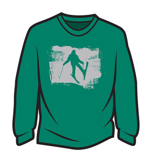 Green Skier Design 2 Long Sleeve T-Shirt