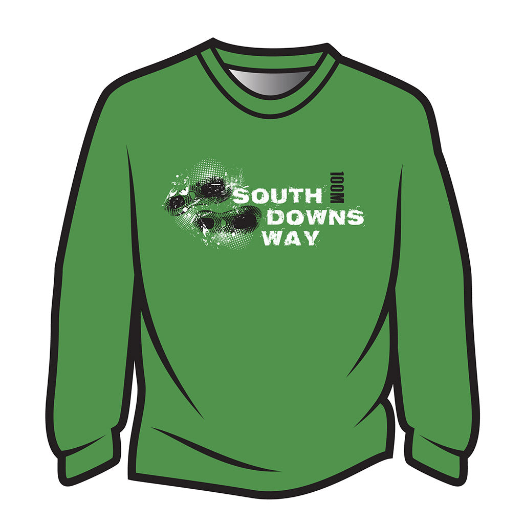 Green South Downs Way Design 1 Long Sleeve T-Shirt
