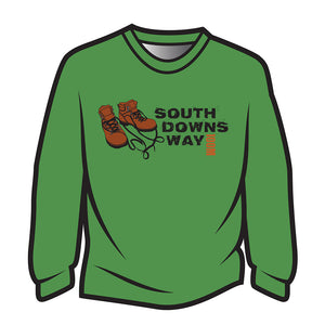 Green South Downs Way Design 2 Long Sleeve T-Shirt