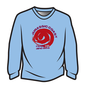 Light Blue Jurassic Coast Design 2 Long Sleeve T-Shirt