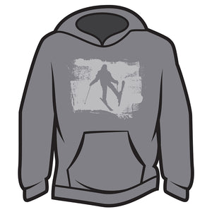Light Grey Skier Design 2 Hoodie