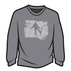 Light Grey Skier Design 2 Long Sleeve T-Shirt