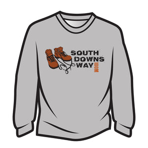 Light Grey South Downs Way Design 2 Long Sleeve T-Shirt