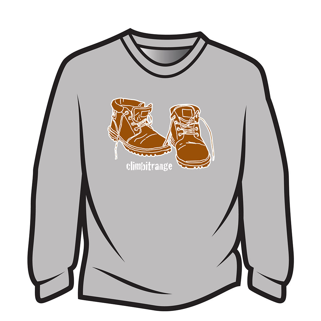 Light Grey climbitrange Boots Long Sleeve T-Shirt