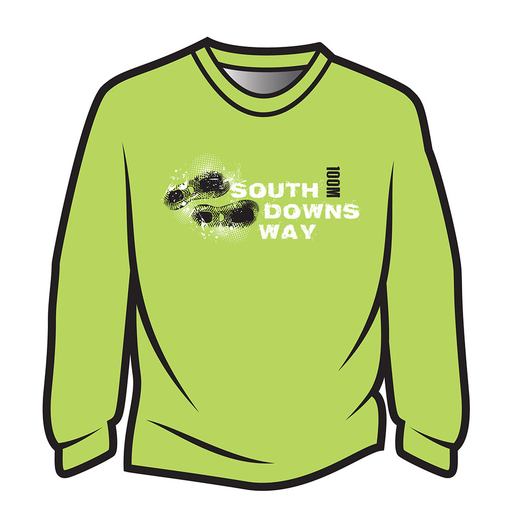 Lime South Downs Way Design 1 Long Sleeve T-Shirt